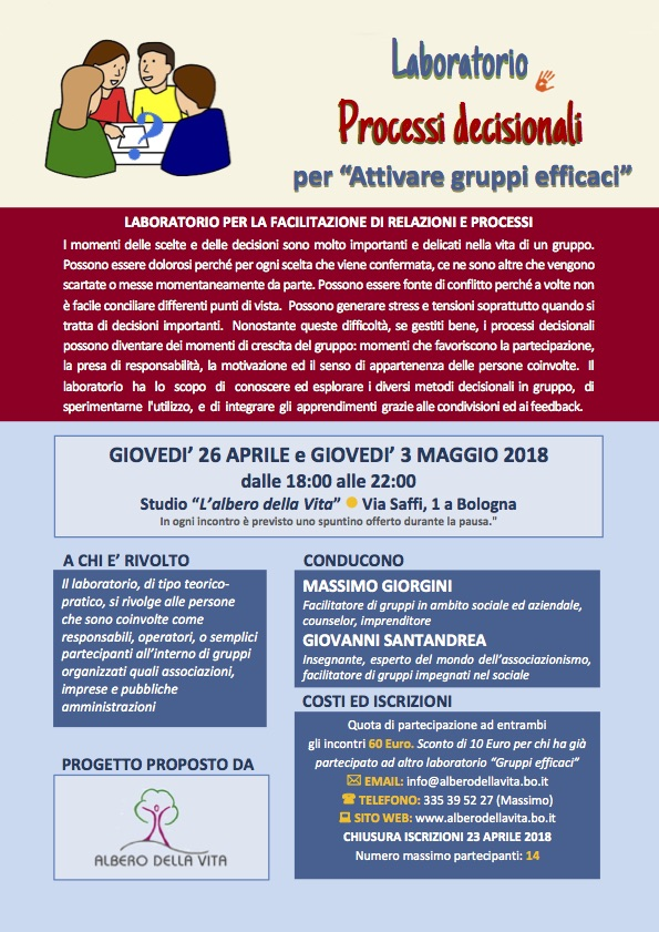Laboratorio Processi decisionali per gruppi efficaci